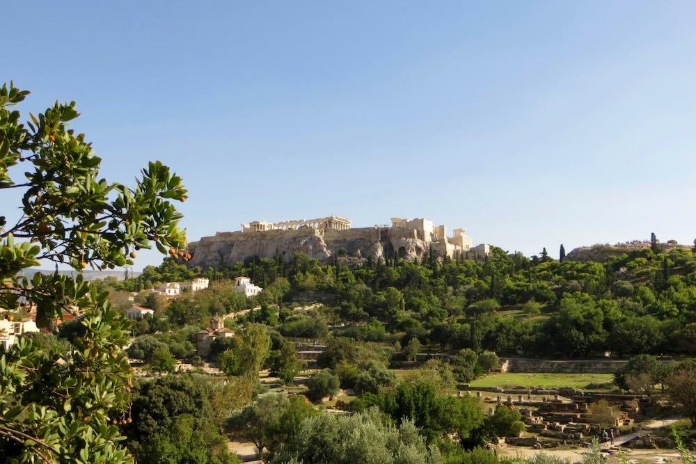 Athen griechische Agora Ausblick auf Akropolis
